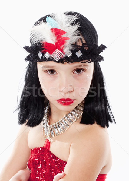 Küçük kız peruk kırmızı elbise stil portre saç Stok fotoğraf © courtyardpix