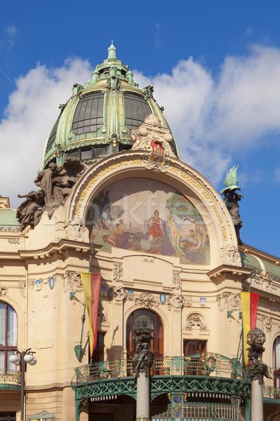 Praga municipal casă Republica Ceha art nouveau decorare Imagine de stoc © courtyardpix