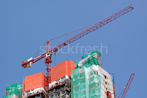 Construction crane at the construction site, on a cloudless sky  Stock photo © cozyta