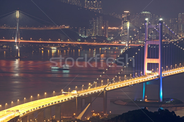 Tsing Ma Bridge in Hong Kong at night  Stock photo © cozyta