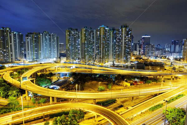 aerial view of the city overpass at night, HongKong Stock photo © cozyta