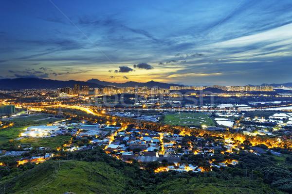 Hong Kong Yuen Long downtown sunset Stock photo © cozyta