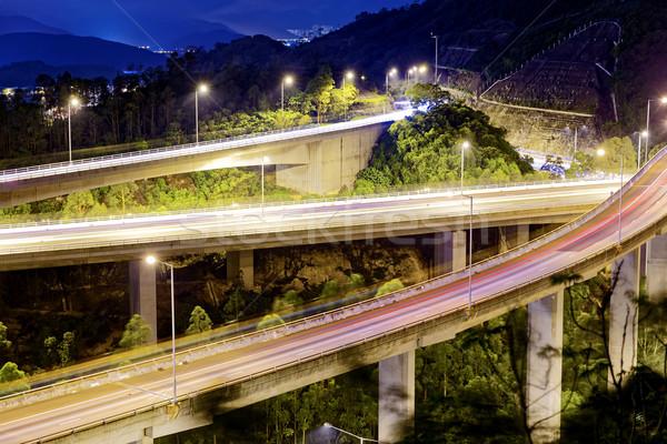 Avond verkeer bewegende auto snelweg brug Stockfoto © cozyta