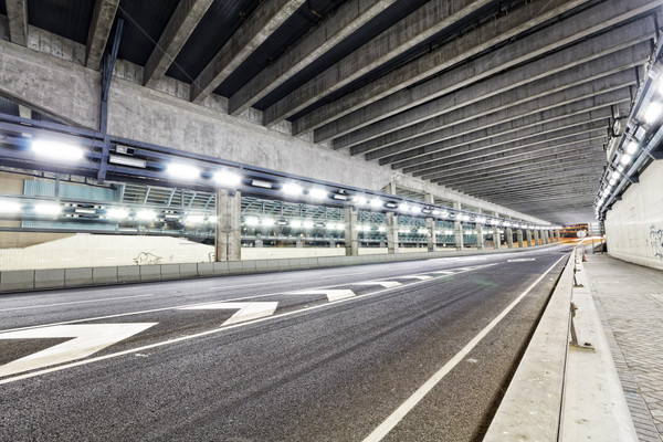 Abstract speed motion in urban highway road tunnel, blurred moti Stock photo © cozyta