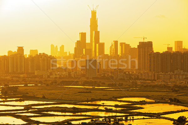 chinese city at sunset Stock photo © cozyta