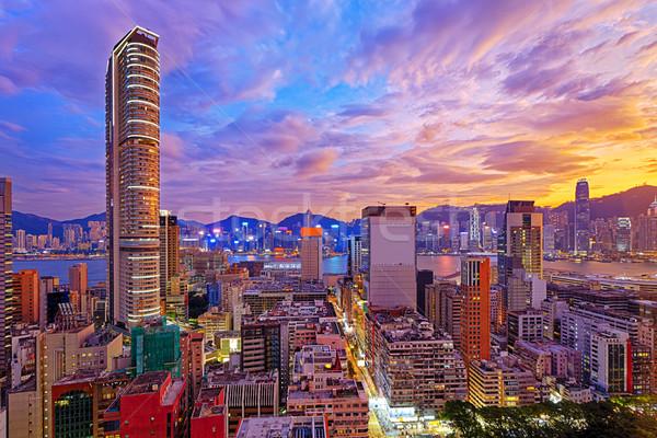 Hong-Kong Skyline coucher du soleil bâtiment orange urbaine Photo stock © cozyta