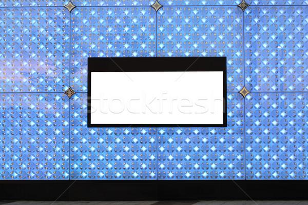 Blank billboard on wall and lighting background Stock photo © cozyta