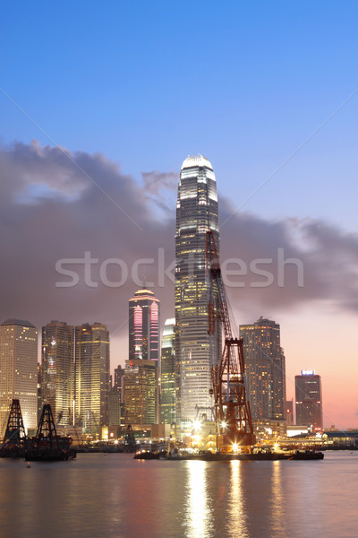 Stock photo: Sunset in Hong Kong