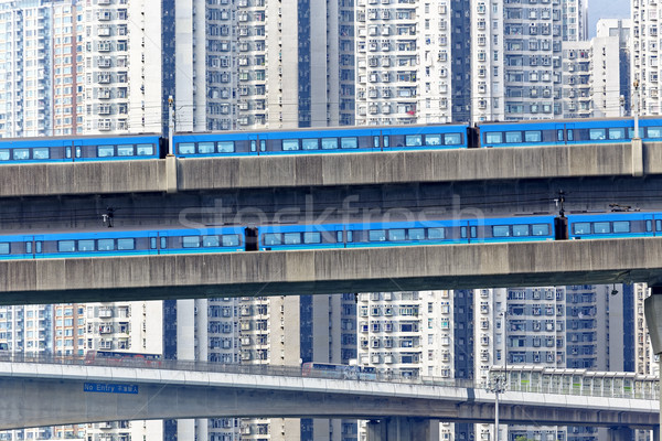 high speed train on bridge in hong kong downtown city Stock photo © cozyta