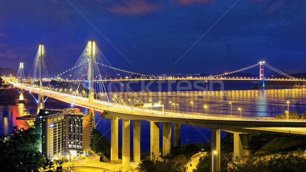 Taffic Night scene of Ting Kau suspension bridge Stock photo © cozyta