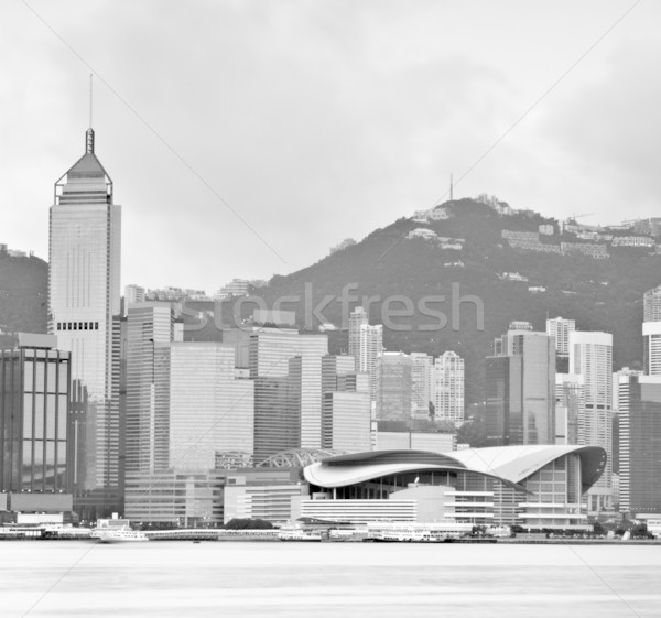 Stock photo: It is hong kong in black and white