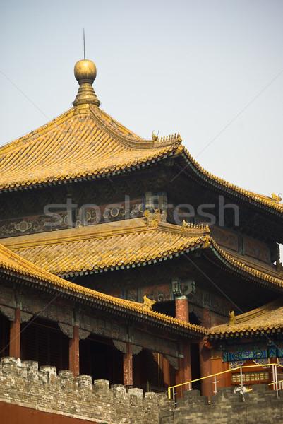 Tilos fa piros arany szín kínai Stock fotó © cozyta