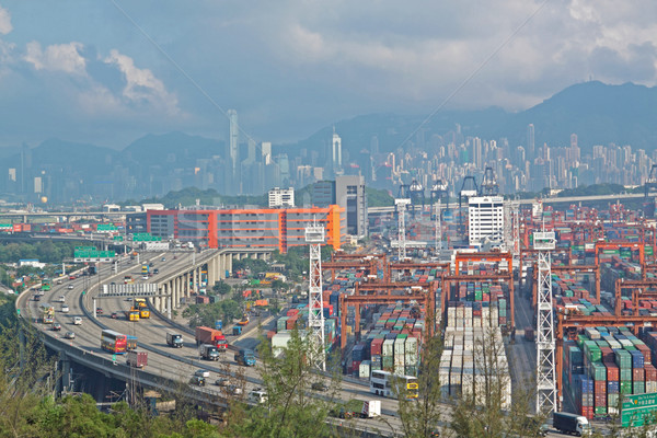 highway and container terminals in Hong Kong Stock photo © cozyta