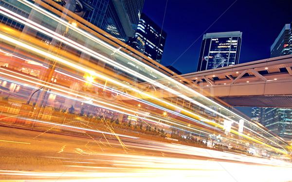 Száguld autó utca fény autópálya éjszaka Stock fotó © cozyta