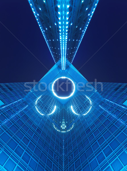 office building at night in blue Stock photo © cozyta