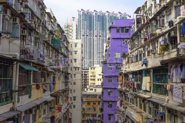 Nyilvános birtok nyomornegyed nap fal absztrakt Stock fotó © cozyta