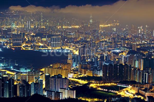 City Night moderne Hong Kong stad muur licht Stockfoto © cozyta