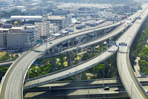 aerial view of the city overpass in early morning Stock photo © cozyta