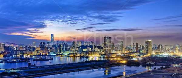 Hong Kong city sunset Stock photo © cozyta