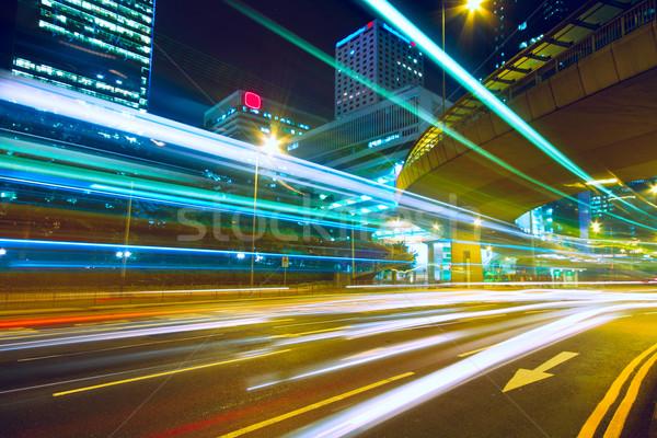 Nocturna de la ciudad negocios cielo agua resumen puesta de sol Foto stock © cozyta