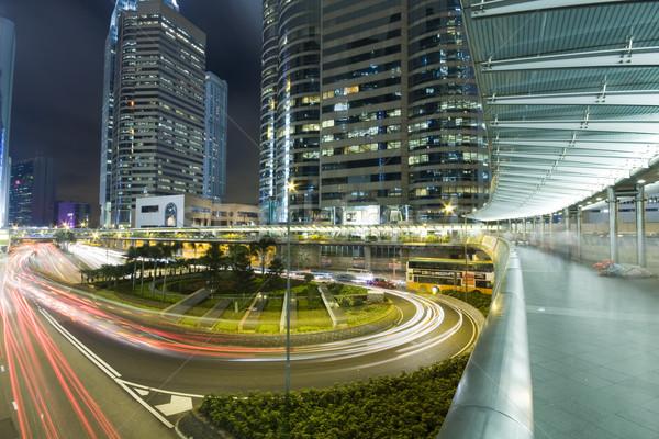 Hong Kong noite high-rise edifícios estrada edifício Foto stock © cozyta