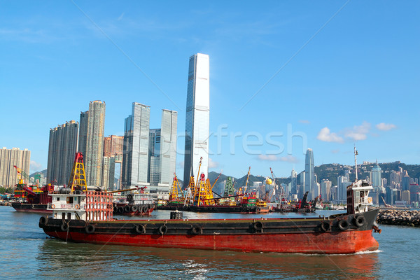 Construction barges in in Victoria Harbor, Hong Kong Stock photo © cozyta