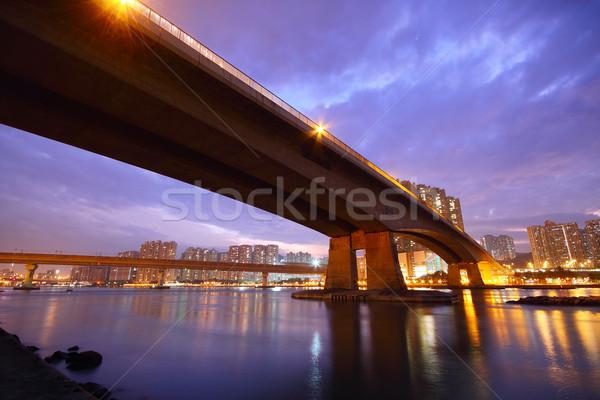 橋 日没 建物 風景 海 オレンジ ストックフォト © cozyta