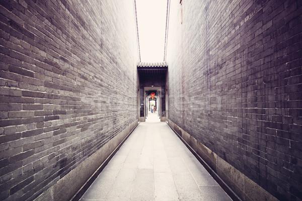 традиционный китайский архитектура долго коридор здании Сток-фото © cozyta