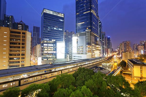 Noc Hongkong centrum drogowego krajobraz tle Zdjęcia stock © cozyta