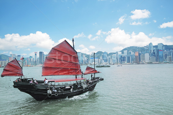 Junk boat with tourists in Hong Kong Victoria Harbour Stock photo © cozyta