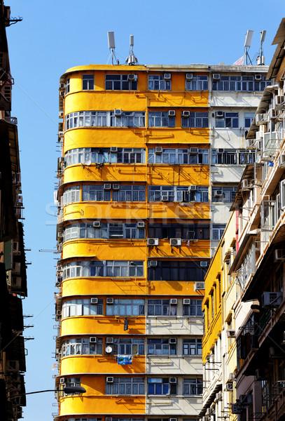 öreg lakások Hongkong belváros nap fut Stock fotó © cozyta