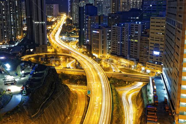 Foto stock: Ocupado · tráfico · noche · financiar · urbanas · Hong · Kong