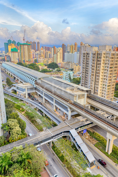hong kong urban downtown and sunset speed train Stock photo © cozyta