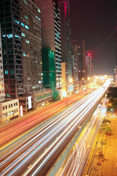 Centro Night City auto costruzione luce strada Foto d'archivio © cozyta