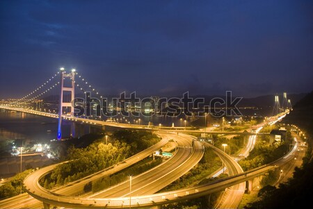 A magical evening of Hong Kong Tsing Ma Bridge .        Stock photo © cozyta