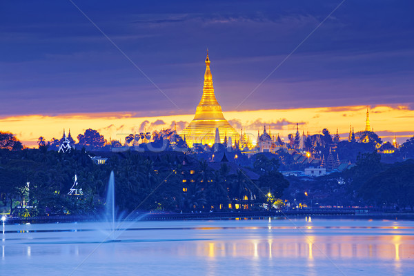 Shwedagon Pagoda at sunset Stock photo © cozyta