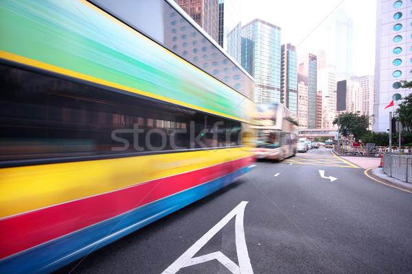 Stok fotoğraf: Yol · trafik · şehir · merkezinde · Hong · Kong · araba · Bina