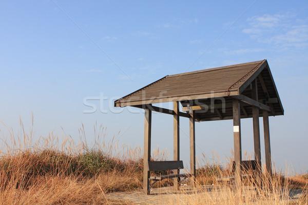 pavilion on the grassland with blue sky.  Stock photo © cozyta