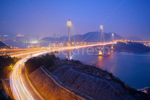 Tsing Ma Bridge in Hong Kong at night  Stock photo © cozyta