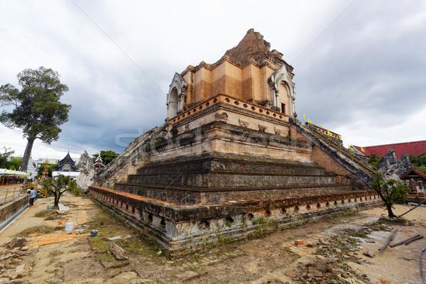 Tempio legno muro blu viaggio rosso Foto d'archivio © cozyta