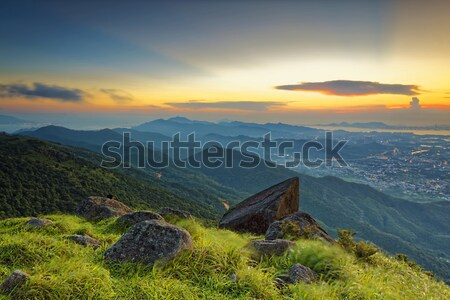 Sunset over new territories in hong kong Stock photo © cozyta