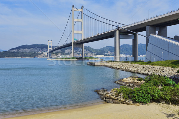hong kong bridge, Tsing Ma Bridge and beach scenes in summer. Stock photo © cozyta