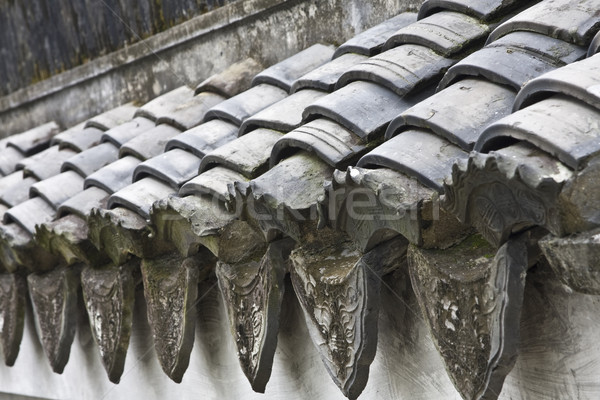 Stock photo: Chinese tiles roofs