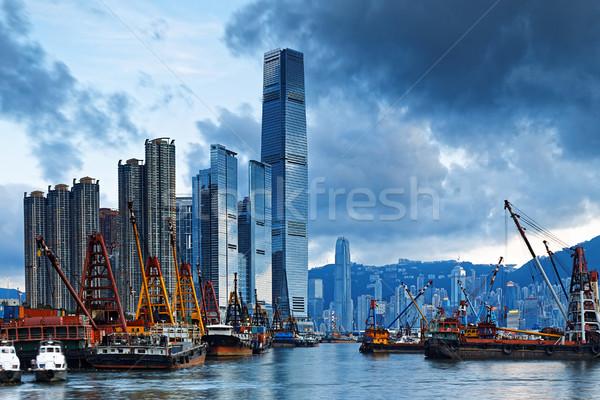 Zdjęcia stock: Hongkong · port · statek · towarowy · międzynarodowych · commerce · centrum