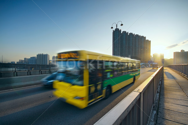 speed bus through sunset road Stock photo © cozyta