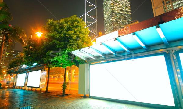 Blank billboard on bus stop at night  Stock photo © cozyta