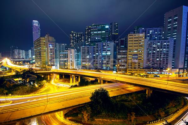 business area of hongkong at night Stock photo © cozyta