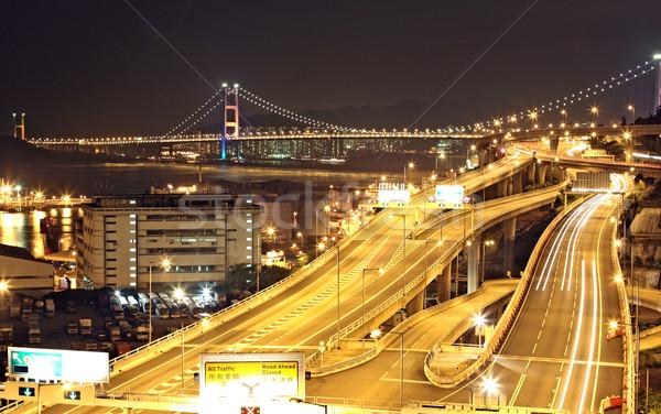 highway and bridge at night Stock photo © cozyta