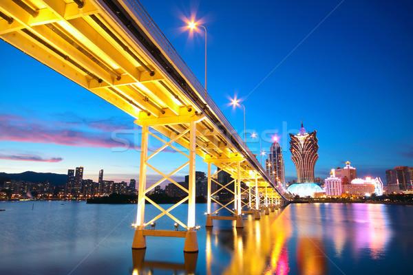 Stadsgezicht brug wolkenkrabber asia wolken stad Stockfoto © cozyta