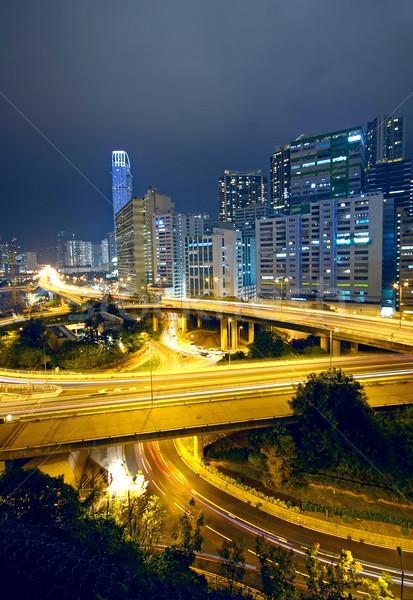 Kolorowy Night City budynków most samochodu drogowego Zdjęcia stock © cozyta